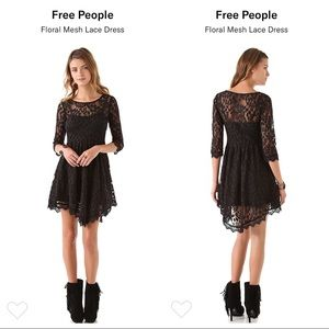 Free people 2 floral mesh lace black dress